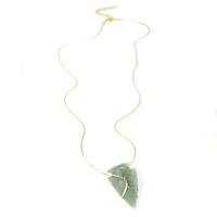 Serefina Infinity Loop Arrowhead Necklace in Green Agate
