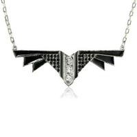 Viento Art Deco Necklace in Rhodium and Black