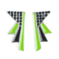 Viento Art Deco Earrings in Rhodium, Black, and Green