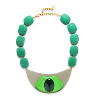 David Aubrey Resin, Wood, and Metal Bib Necklace in Green