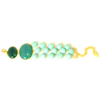 David Aubrey 3-Strand Turquoise and Green Glass Bracelet
