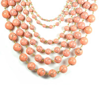 David Aubrey Multi-Strand Beaded Necklace in Pink