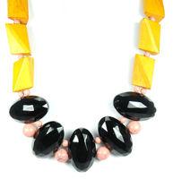 David Aubrey Wood & Vintage Glass Necklace in Mustard, Black, and Pink