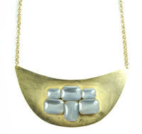 David Aubrey 18K Gold Plated Necklace with Glass Beads