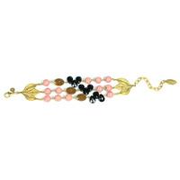 David Aubrey Triple Strand Multi-Stone Bracelet in Pink, Brown, and Black