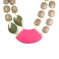 David Aubrey Double Strand Resin Bead Bib Necklace in Pink and Brown