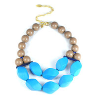 David Aubrey Wood and Resin Statement Necklace in Brown and Sea Blue