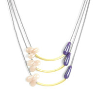 David Aubrey Triple Strand Multi-Stone Necklace in Gray, Purple and Pink
