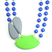 David Aubrey Multi-Stone Bib Necklace in Blue, Green, and Gray
