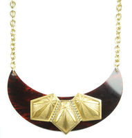 Sandy Hyun Wood and Gold Collar