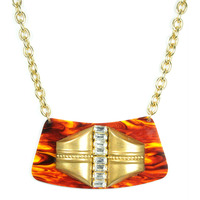 Sandy Hyun Wood and Gold Deco Necklace