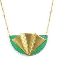 Sandy Hyun Semi Fan Necklace in Green and Gold