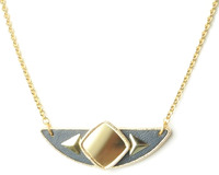 Sandy Hyun Semi Square Necklace in Black and Gold