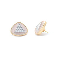 Sandy Hyun Pink Double Triangle Earrings