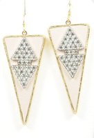 Sandy Hyun Pink Triangle with Jewels Earrings