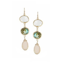 Margaret Elizabeth Three Stone Drops in Pink Druzy
