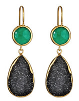 Margaret Elizabeth Two Stone Drop in Green Onyx and Black Druzy