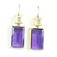 Margaret Elizabeth Emerald Cut Two Stone Drop Earrings in Amethyst