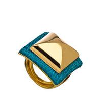 Ted Rossi Blue Enamel Pyramid Ring