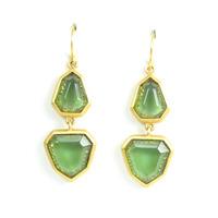 Lucas Jack Two-stone Geometric Drop Earrings in Green