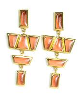 Lucas Jack Structured Geometric Shapes Drop Earrings in Carnelian Orange