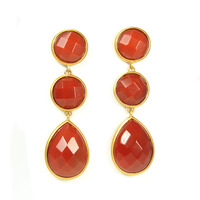 Lucas Jack Triple Drop Earrings in Carnelian