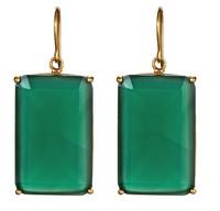 Margaret Elizabeth Emerald Cut Drops in Green Onyx