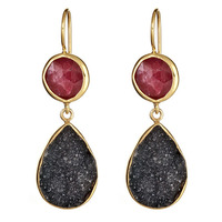 Margaret Elizabeth Two Stone Drop Earrings in Ruby and Black Druzy