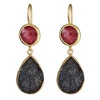 Margaret Elizabeth Two Stone Drop Earrings in Ruby and Black Druzy