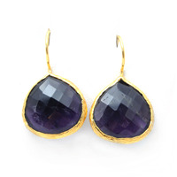 Urban Gem Single Drop Semi-Precious Stone Earrings in Purple