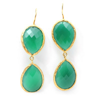 Urban Gem Double-Drop Semi-Precious Stone Earrings in Green