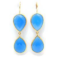 Urban Gem Double-Drop Semi-Precious Stone Earrings in Blue