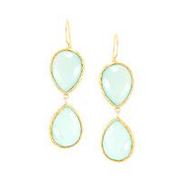 Urban Gem Double-Drop Semi-Precious Stone Earrings in Aqua