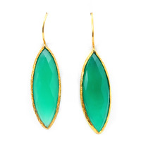 Urban Gem Long-Drop Semi-Precious Stone Earrings in Green
