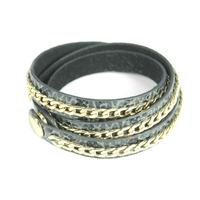 Urban Gem Leather and Chain Wrap Bracelet