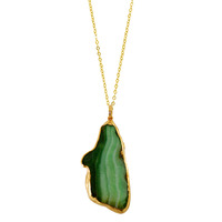 Charlene K Raw Stone Pendant Necklace in Emerald Agate
