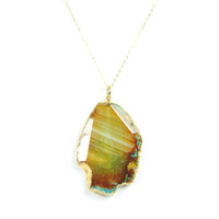 Charlene K Raw Stone Pendant Necklace in Earth Tones