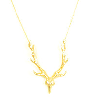 Urban Gem Antlers Necklace in Gold