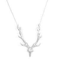 Urban Gem Antlers Skull Necklace in Silver