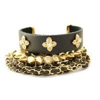 Urban Gem Leather and Gold Triad Bracelet Set