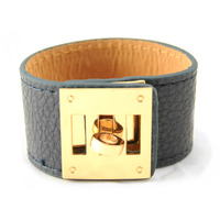 Urban Gem Leather Resort Cuff in Blue