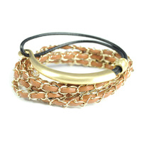 Urban Gem Camel and Gold Stacking Bracelet Set