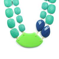 David Aubrey Multi-Stone Bib Necklace in Green and Blue