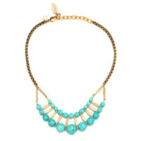David Aubrey Double Layer Turquoise and Gold Necklace