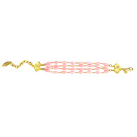 David Aubrey Triple Strand Pink Glass Bracelet