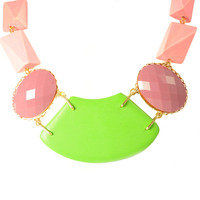 David Aubrey Multi-Stone Bib Necklace in Pink and Green