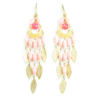 David Aubrey Pink Glass and Gold Leaves Chandelier Earrings