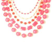 David Aubrey Five Strand Pink Beaded Necklace