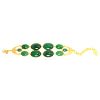 David Aubrey Double Layer Agate Bracelet in Green