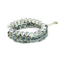 Urban Gem Leather Wrap and Studs Bracelet Set in Navy
